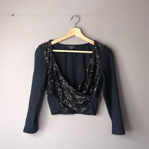 Bebe crop top black sequin sparkly large
